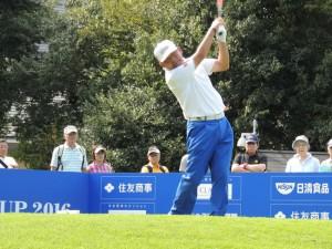 62歳になった中嶋常幸だが、まだまだシニアで人気選手のひとり。(16年10月の日本プロシニア・住友商事サミット杯で)