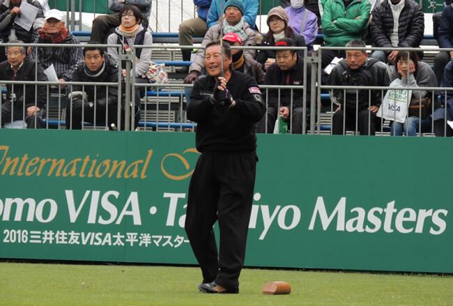 1週前の三井住友VISA太平洋マスターズでドライバーを打つジャンボ。ずいぶんスイングが小さくなっていた(静岡・太平洋クラブ御殿場)