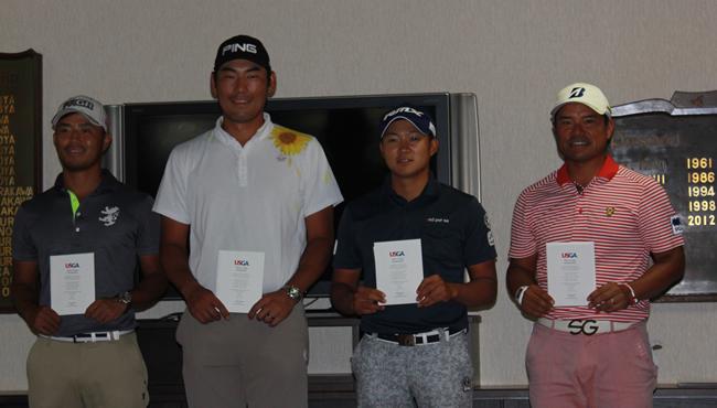 全米オープン日本地区予選で出場枠4つを勝ち取った4人。左から小平智、C・キム(米)、今平周吾、宮里優作(兵庫・小野GC)=写真提供:日本ゴルフ協会